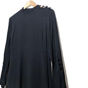 LOFT Black Long Sleeve Short Dress Velvet Buttons